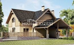 150-011-L Two Story House Plans with mansard roof and garage, inexpensive Architects House,