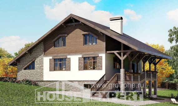 300-003-R Three Story House Plans with mansard with garage in front, a huge Villa Plan,