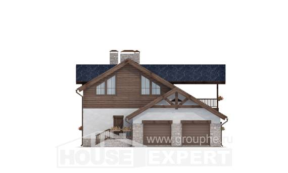 240-002-L Two Story House Plans with mansard with garage in back, beautiful Cottages Plans,