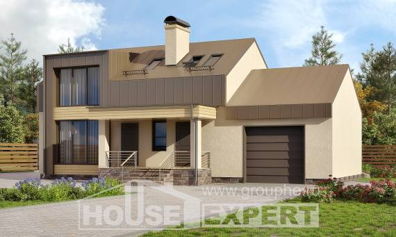 150-015-L Two Story House Plans with mansard with garage under, inexpensive House Building,