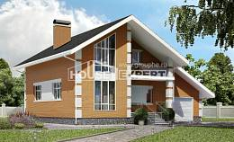 190-006-R Two Story House Plans with mansard with garage under, average Cottages Plans,