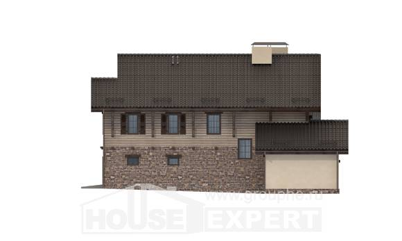 255-002-R Two Story House Plans with mansard with garage in front, big Design Blueprints,