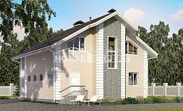 150-002-R Two Story House Plans with mansard roof with garage, economical Design House,
