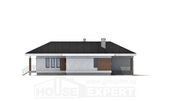 165-001-R One Story House Plans with garage in front, small Villa Plan