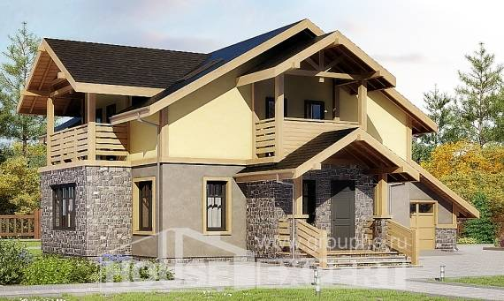 180-011-R Two Story House Plans with mansard with garage under, luxury Woodhouses Plans,