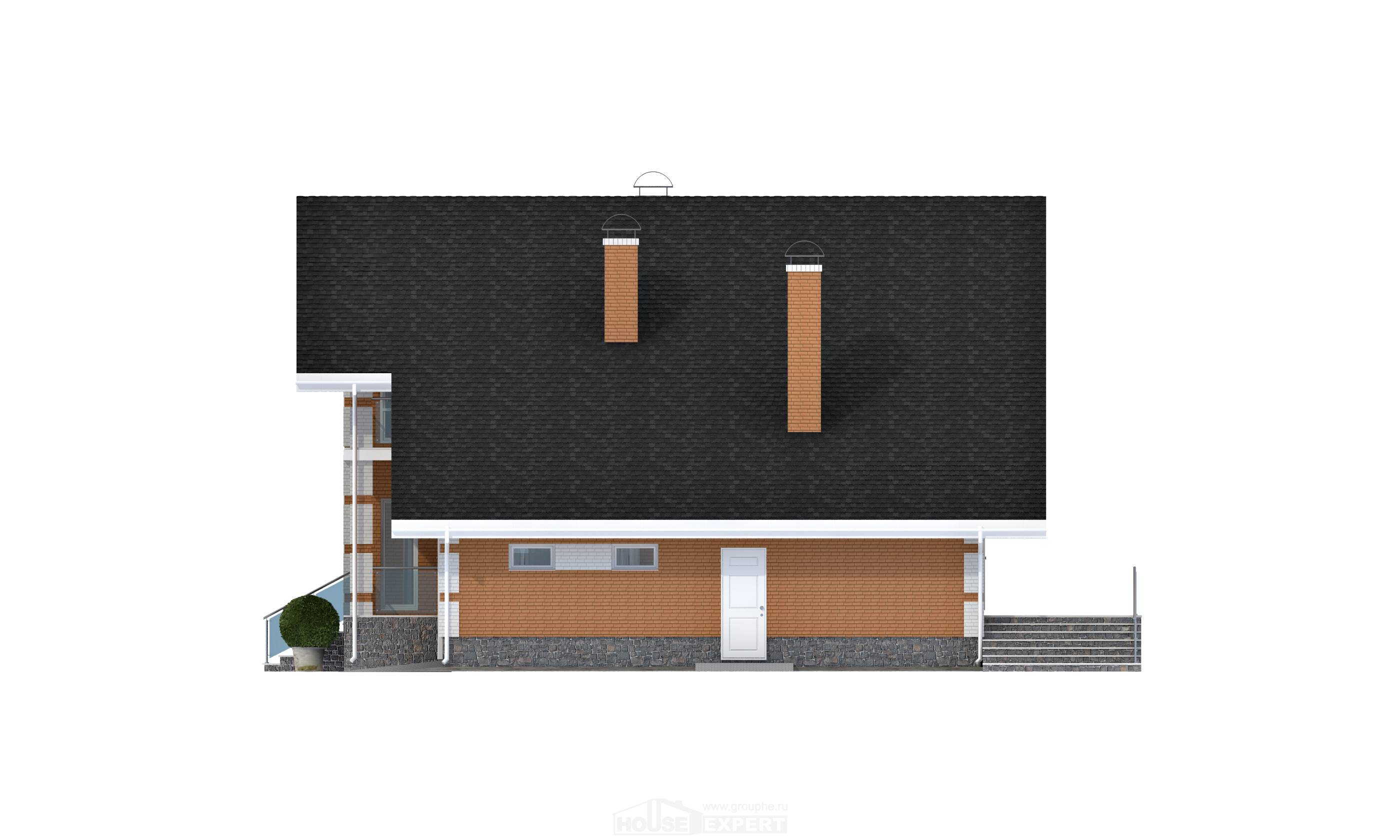 190-006-R Two Story House Plans with mansard and garage, average House Blueprints,