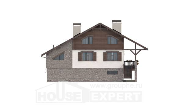 300-003-R Three Story House Plans and mansard with garage, luxury Home Blueprints,