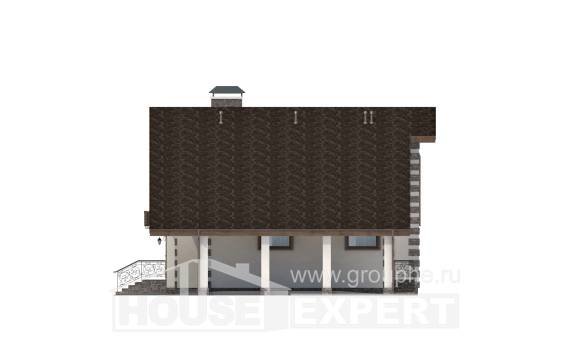 150-003-L Two Story House Plans with mansard with garage, small Design Blueprints, House Expert