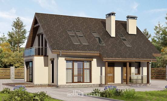155-012-L Two Story House Plans with mansard, available Villa Plan,