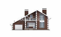 180-001-L Two Story House Plans with mansard roof with garage, the budget Drawing House