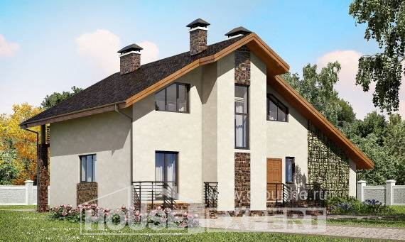 180-008-L Two Story House Plans with mansard with garage in back, beautiful Blueprints,