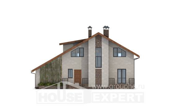 180-008-R Two Story House Plans and mansard with garage, spacious Custom Home Plans Online,