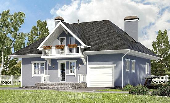 200-001-R Two Story House Plans and mansard with garage in front, luxury House Building,