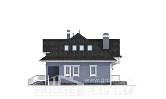 200-001-R Two Story House Plans with mansard and garage, beautiful Architectural Plans, House Expert