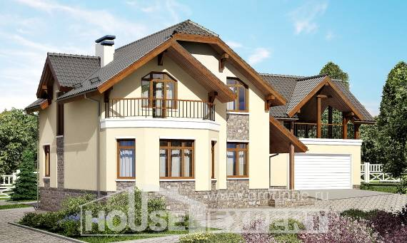 255-003-R Two Story House Plans with mansard and garage, beautiful House Building,