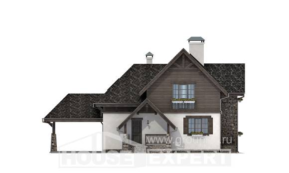 160-002-L Two Story House Plans with mansard roof with garage under, beautiful Blueprints of House Plans,