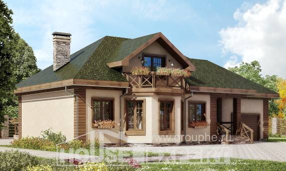 180-010-R Two Story House Plans with mansard and garage, spacious Architect Plans,