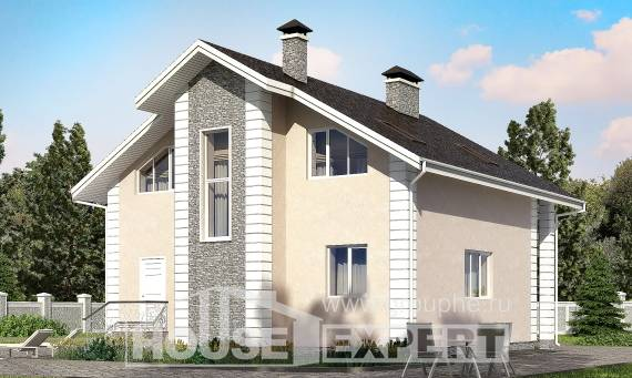 150-002-R Two Story House Plans and mansard with garage in back, inexpensive House Plans,