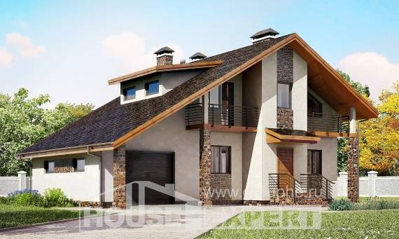 180-008-L Two Story House Plans with mansard and garage, cozy Dream Plan,