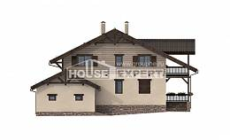 255-002-R Two Story House Plans with mansard with garage in back, cozy Blueprints of House Plans,