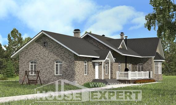 195-001-R One Story House Plans, cozy Woodhouses Plans,