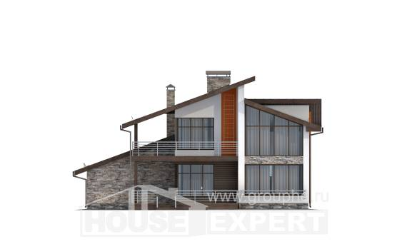 200-010-R Two Story House Plans and mansard with garage in back, classic Blueprints, House Expert