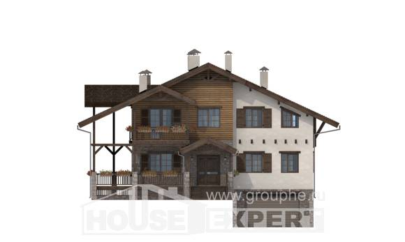 400-004-R Three Story House Plans with mansard roof with garage, cozy Architectural Plans