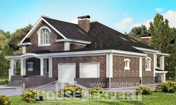 490-001-R Three Story House Plans with mansard roof with garage in back, cozy Architectural Plans