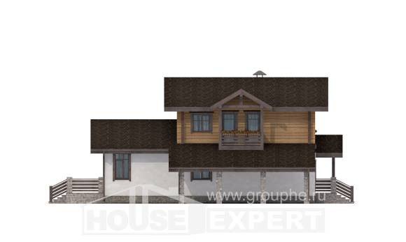 170-004-L Two Story House Plans with mansard roof with garage in front, available House Plans,