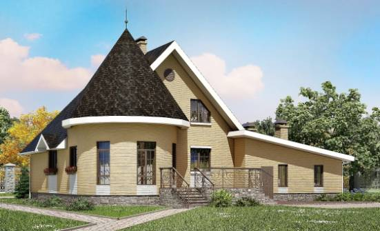 250-001-L Two Story House Plans with mansard with garage under, spacious Tiny House Plans, House Expert