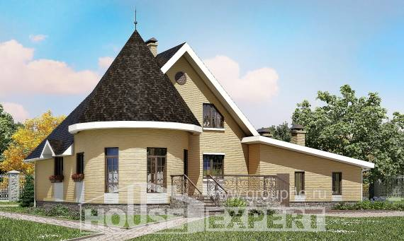 250-001-L Two Story House Plans with mansard roof with garage under, a simple House Plans,