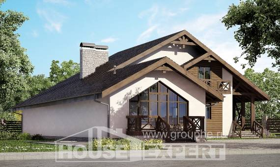 265-001-R Two Story House Plans with mansard roof with garage under, modern Dream Plan