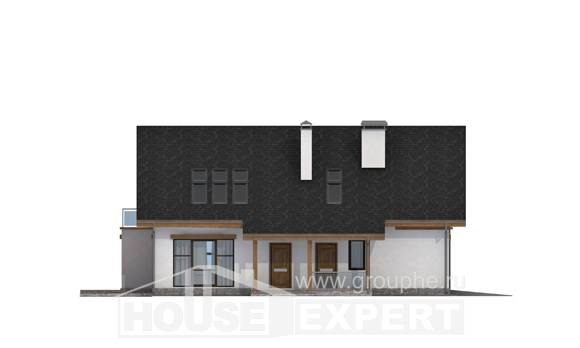 185-005-R Two Story House Plans with mansard with garage in back, best house Blueprints,