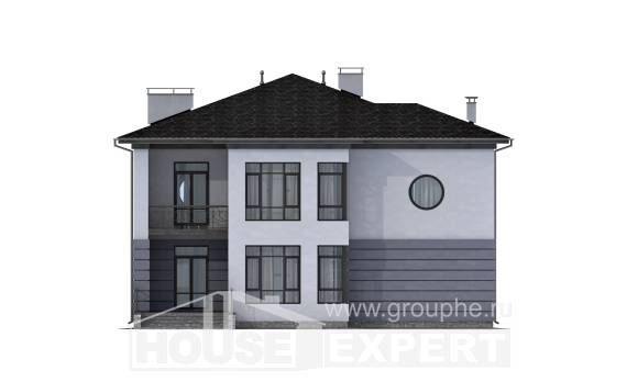 300-006-L Two Story House Plans with garage under, big Models Plans,