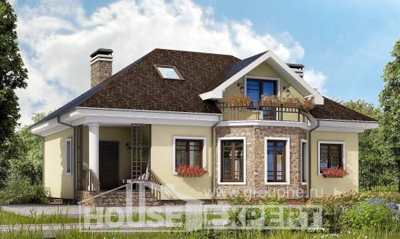 150-008-L Two Story House Plans with mansard roof, the budget House Building,