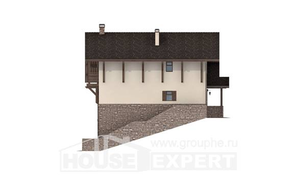 305-002-L Three Story House Plans with mansard and garage, modern Architectural Plans