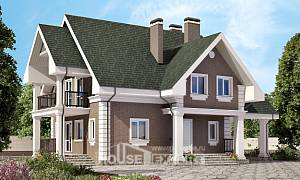 140-003-R Two Story House Plans with mansard with garage in front, a simple Architects House