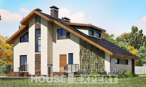 180-008-L Two Story House Plans and mansard with garage under, beautiful Building Plan,
