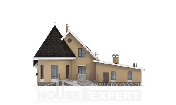 250-001-L Two Story House Plans with mansard roof with garage under, a simple House Blueprints,