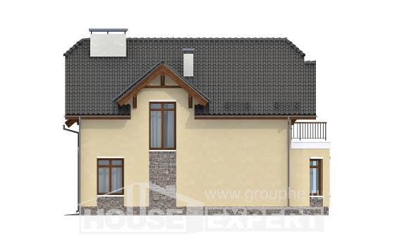 255-003-R Two Story House Plans with mansard roof and garage, modern Plans To Build