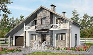 180-017-L Two Story House Plans with mansard roof with garage in front, beautiful Design Blueprints,