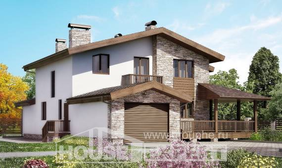 220-001-R Two Story House Plans and mansard and garage, cozy House Planes,
