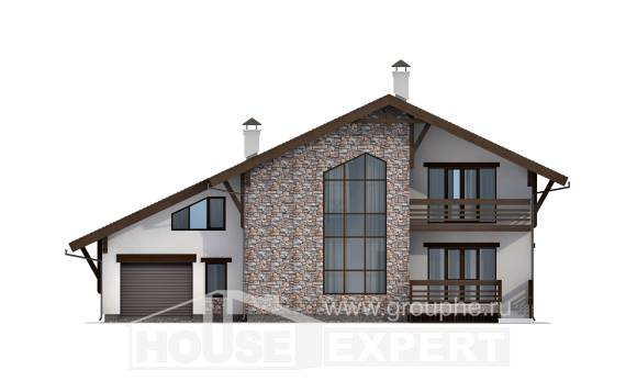 280-001-R Two Story House Plans and mansard with garage under, spacious Architect Plans,