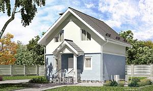 095-002-R Two Story House Plans with mansard, small Tiny House Plans