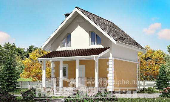 070-002-R Two Story House Plans with mansard roof, modest Construction Plans,