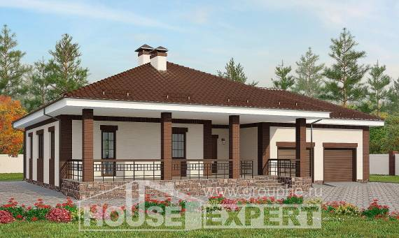 160-015-R One Story House Plans with garage under, available Architect Plans,