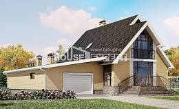 250-001-L Two Story House Plans with mansard with garage under, cozy Home Blueprints,