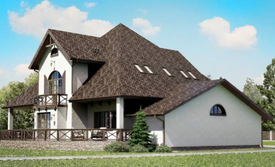350-001-L Two Story House Plans with mansard roof with garage in back, cozy Architects House,