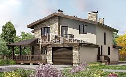 220-001-L Two Story House Plans with mansard with garage in front, average House Building