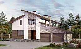 240-004-R Two Story House Plans and mansard with garage in front, average House Blueprints, House Expert
